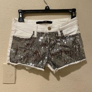 Joe's jean white and silver sequins shorts size 25